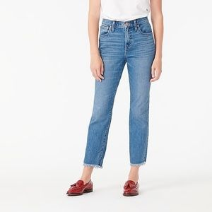 J.Crew slim broken in boyfriend frayed hem jeans